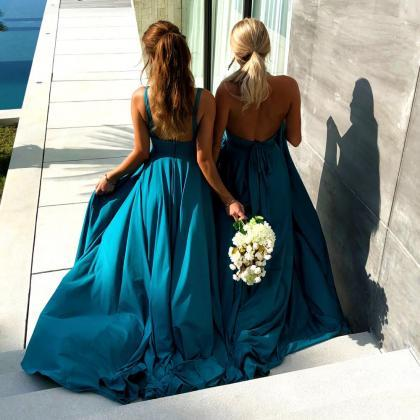 Teal Bridesmaid Dresses, Long Bride..
