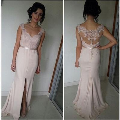 Long Prom Dress, Blush Pink Prom Dress, Lace Prom Dress, Cheap ...