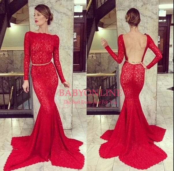 Long Prom Dress, Red Prom Dress, Backless Prom Dress, Lace Prom ...