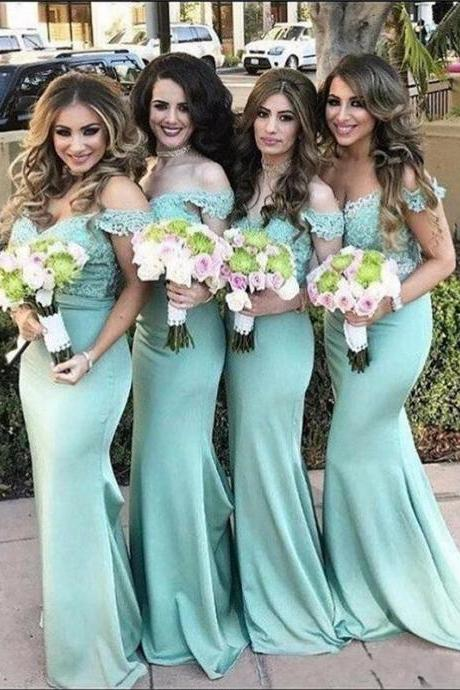 Mint Green Off Shoulder Sweetheart Neckline Floor Length Mermaid Guest Wedding Dress, Bridesmaid Dress