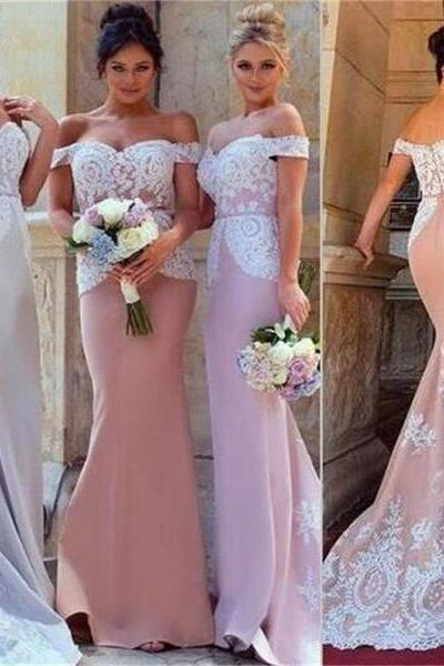 2017 Off Shoulder Lace Appliques Mermaid Sweetheart Custom Cheap Most Popular New Arrival Formal Elegant Charming Bridesmaid Dresses, 17912