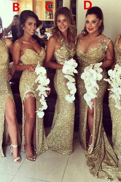 Charming Most Popular Mismatched Gold Side Split Sparkly Women Long Wedding Bridesmaid Dress,17901