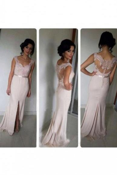 long prom dress, blush pink prom dress, lace prom dress, cheap prom dress, slit prom dress, charming prom dress, sheath prom dress, evening dress, 148510