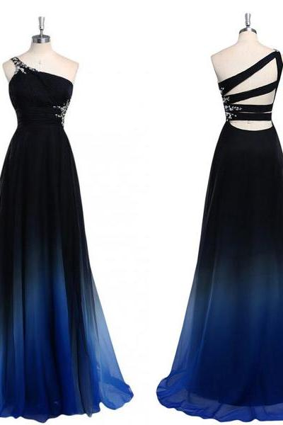 long prom dress, ombre prom dress, chiffon prom dress, party prom dress, cheap prom dress, one shoulder prom dress, 146165