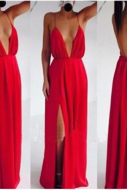 long prom dress, red prom dress, sexy prom dress, cheap prom dress, chiffon prom dress, long evening dress, prom dress 2015, 141200