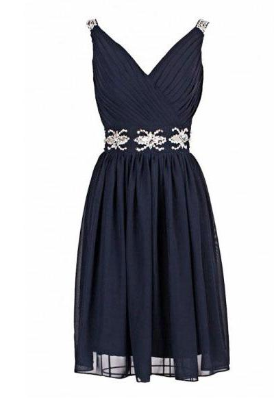 short bridesmaid dress, navy bridesmaid dress, chiffon bridesmaid dress, cheap bridesmaid dress, short prom dress, homecoming dress, 141210