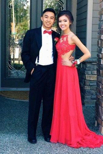 long prom dress, red prom dress, sexy prom dress, backless prom dress, cheap prom dress, lace prom dress, long evening dress, 141220