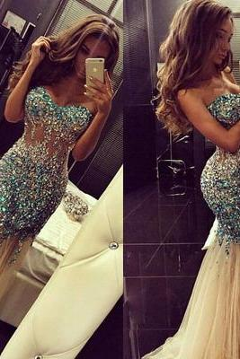 long prom dress, sweetheart prom dress, mermaid prom dress, tulle sparkle prom dress, charming prom dress, party prom dress, sexy evening prom dress,141236