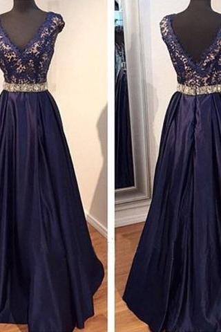 long prom dress, navy prom dress, party prom dress, taffeta prom dress, cheap prom dress, modest v-neck prom dress, evening dress gown, 141251