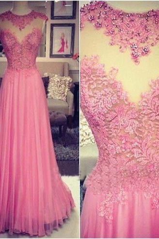 long prom dress, pink prom dress, party prom dress, chiffon prom dress with lace, cheap prom dress, modest o-neck prom dress, evening dress, 141261