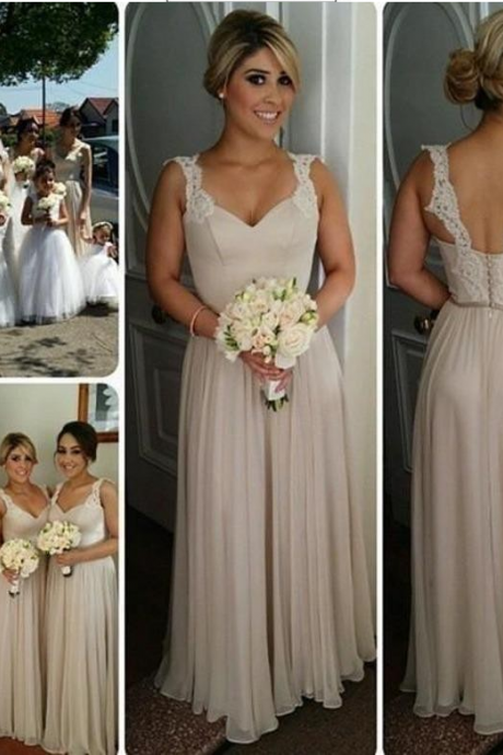 long bridesmaid dress, light gray bridesmaid dress, cheap bridesmaid dress, chiffon bridesmaid dress, lace straps bridesmaid dress, elegant bridesmaid dresses, 141292