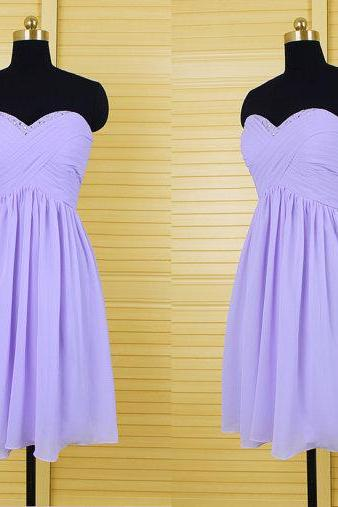 lilac bridesmaid dress, chiffon bridesmaid dress, cheap bridesmaid dress, short bridesmaid dress, sweetheart bridesmaid dress, simple prom dresses, 141303