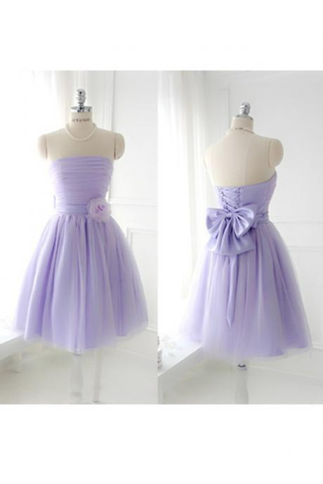short bridesmaid dress, lilac bridesmaid dress, tulle bridesmaid dress, cheap bridesmaid dress, short prom dress, party prom dress for girls, 141341