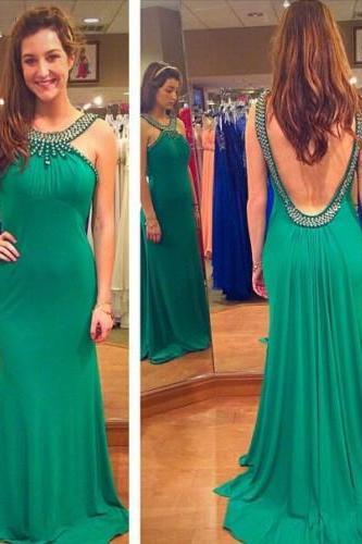 long prom dress, green prom dress, backless prom dress, party prom dress, sheath prom dress, evening dress, chiffon prom dress, 141509