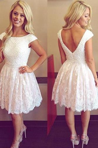 short homecoming dress, lace homecoming dress, white prom dress, junior prom dress, party dress for girls, cheap prom dress, 141518
