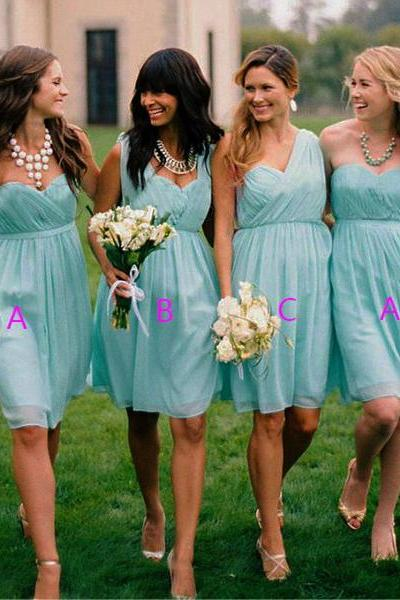short bridesmaid dress, mismatched bridesmaid dresses, cheap bridesmaid dress, chiffon bridesmaid dress, blue bridesmaid dress, 141561