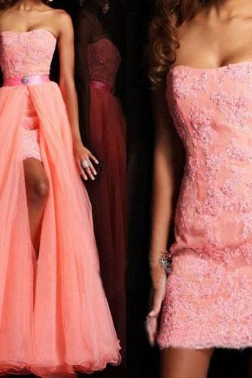 detachable prom dress, pink prom dress, lace prom dress, party prom dress, cheap prom dress, evening dress, strapless prom dress, 141595