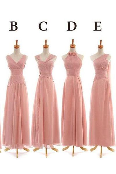 long bridesmaid dresses, chiffon bridesmaid dresses,pink custom bridesmaid dresses,custom bridesmaid dresses,cheap bridesmaid dresses ,beautiful bridesmaid dresses,17109