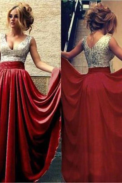 Long prom dress ,red prom dress,sequin prom dress,evening prom dress,party prom dress,cheap prom dress,2016 prom dress, v-neck prom dress,a-line prom dress, 17151