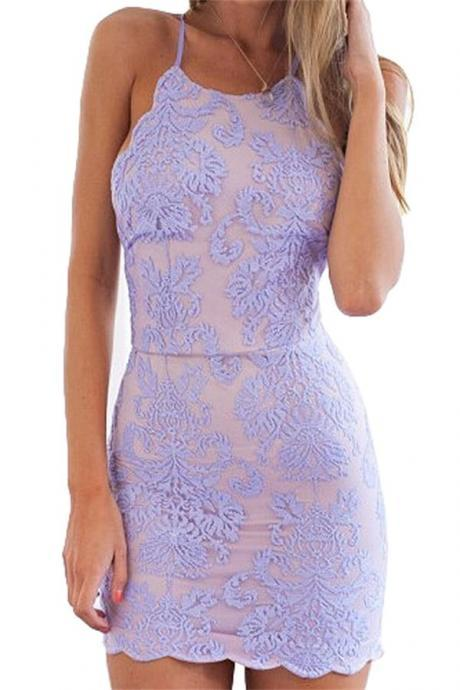 Short Homecoming Dress,Spaghetti Straps Homecoming Dress ,Lavender Homecoming Dress Lace Homecoming Dresses , Cheap Homecoming Dresses Backless Party Dress For Teens ,Homecoming Dress,17161