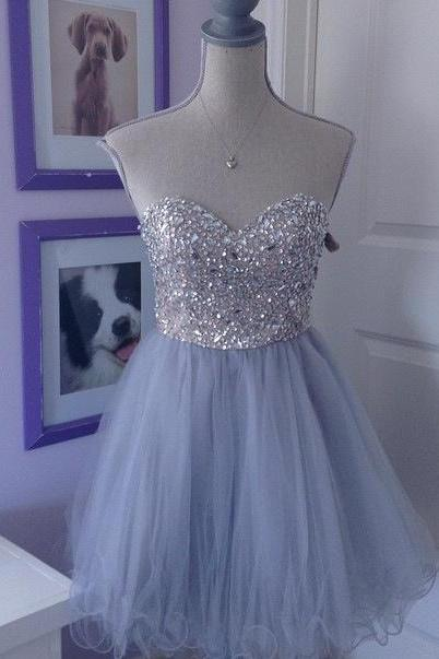 Short Homecoming Dress,Sweetheart Homecoming Dress,Tulle Homecoming Dress,Sparkly Party Dress,Short Prom Gown,Popular Homecoming Gowns,Homecoming Dress,17233