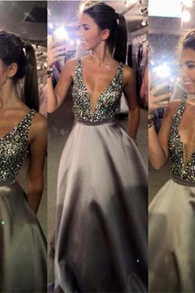 Charming Prom Dress,V-Neck Prom Dress,Sexy Prom Dress,Popular Prom Dress,A-Line Evening Dress, Sparkly prom dresses ,Custom Dresses,long prom dress,17501