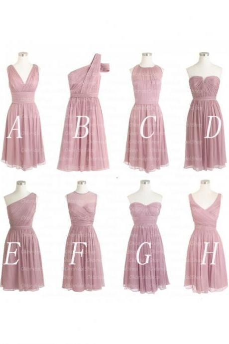 Popular Cheap bridesmaid dress,Dusty pink bridesmaid dress, Mismatched bridesmaid dress,Chiffon bridesmaid dress, Wedding party dress,Short Bridesmaid Dress,Bridesmaid Dresses,Bridal Gowns,17703