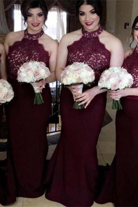 Long Bridesmaid Dresses , Mermaid Bridesmaid Dresses ,Burgundy Bridesmaid Dresses ,Lace Top Bridesmaid Dresses ,High Neck Bridesmaid Dresses , Wedding Guest Dresses ,17750