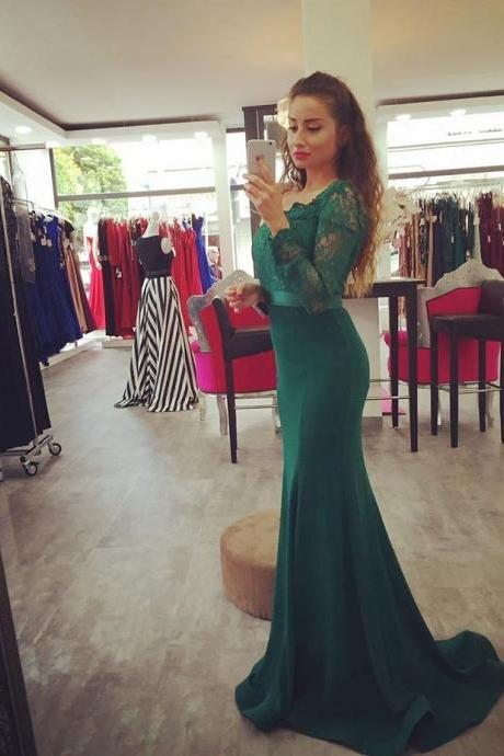 Dark Green Mermaid Prom Gown,Charming Prom Dress, Long Sleeve Prom Dress, Formal Dress,Bridesmaid Dress,Wedding Party Evening Dress, Long Prom Dress, Special Occasion Gowns, Prom Dress, Party Dress, 17829