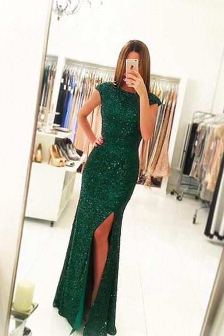 Green Prom Dress,Sequins Prom Dress , Mermaid Prom Dress , Sexy Slit Prom Gown, Long Prom Dress, Special Occasion Gowns, Prom Dress, Party Dress, 17830