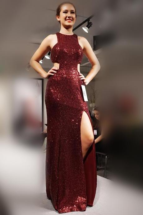 Red Sparkly Prom Dress, Sequins Prom Dress, Sexy Prom Dress , Side Slit Prom Gown, Long Prom Dress, Special Occasion Gowns, Prom Dress, Party Dress, 17831