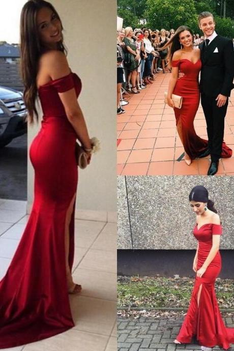 Red Prom Dress, Mermaid Prom Dress, Sexy Prom Dress, Side Slit Prom Dress, Off Shoulder Prom Dress , Long Prom Dress, Special Occasion Gowns, Prom Dress, Party Dress, 17832