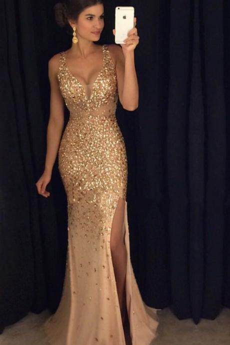 Mermaid Prom Dress, Charming Prom Dress, Gorgeous Prom Dress, Slit Prom Dress, Long Prom Dress, Special Occasion Gowns, Prom Dress, Party Dress, 17835