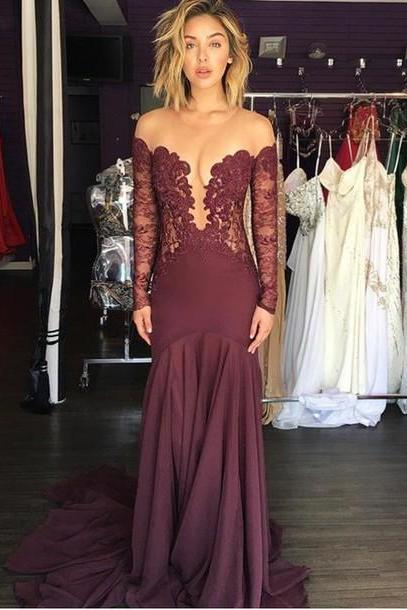 Lace Prom Dress,Long Sleeve Prom Dress,Fashion Prom Dress,Sexy Party Dress,Custom Made Evening Dress,Long Prom Dress, Special Occasion Gowns, Prom Dress, Party Dress, 17842