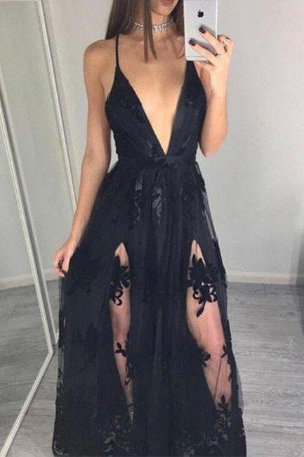 Sexy Prom Dress, Deep V Neck Prom Dress, Lace Prom Dress, Modest Prom Dress, Long Prom Dress, Special Occasion Gowns, Prom Dress, Party Dress, 17843