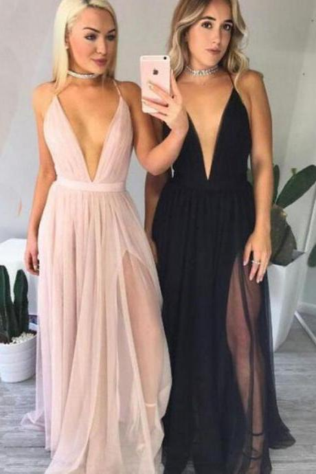Sexy Prom Dress, Fashion Prom Dress, Popular Prom Dress, Deep V Neck Prom Dress, Spaghetti Straps Prom Dress , Long Prom Dress, Special Occasion Gowns, Prom Dress, Party Dress, 17844
