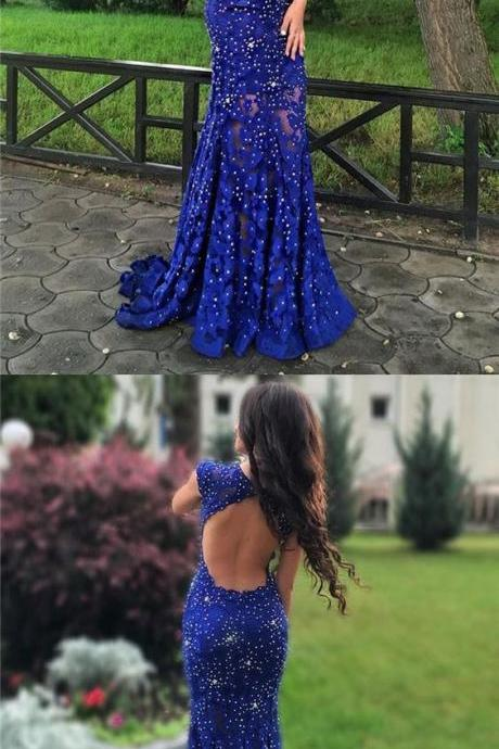 Open Back Prom Dress, Blue Prom Dress, Mermaid Prom Dress, Beading Prom Dress, Long Prom Dress, Special Occasion Gowns, Prom Dress, Party Dress, 17845