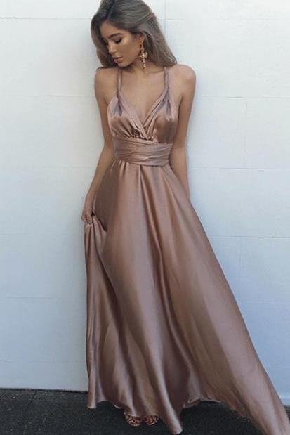 Simple Prom Dress, V-Neck Prom Dress, Sexy Spaghetti Straps Prom Dress, Blush Prom Dress , Long Prom Dress, Special Occasion Gowns, Prom Dress, Party Dress, 17846