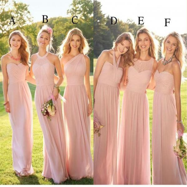 Pastel Pink Cheap Long Lace Chiffon Bridesmaid Dresses, Mismatched Popular Custom Bridesmaid Dress For Wedding Guest,17902