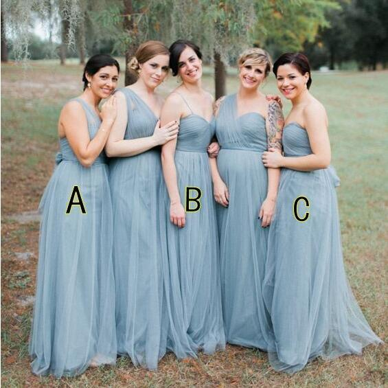 Blue Grey Cheap Long Tulle Mismatched Convertible Pretty Modest Mismatched Fairy Bridesmaid Dresses, Custom Cheap Bridesmaid dresses,17905