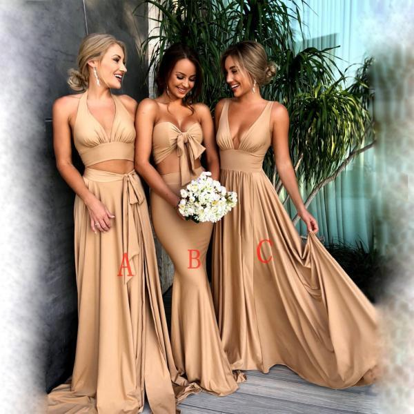Cheap Bridesmaid Dresses, Gold Mismatched Bridesmaid Dresses, Long Modest Bridesmaid Dresses,Unique Design Popular Bridesmaid Dresses Online, prom dress,17906