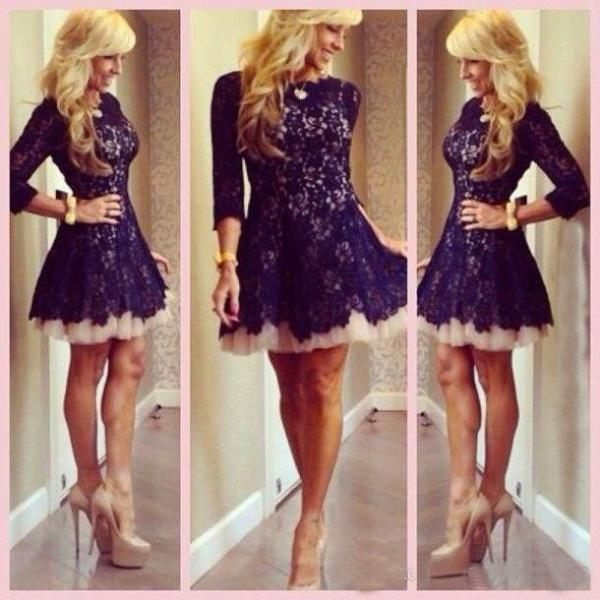 Short Homecoming Dress, Lace Homecoming Dress, Short Black Prom ...