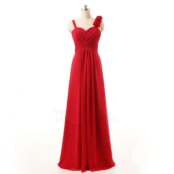 Long bridesmaid dress red bridesmaid dress cheap for Simple red wedding dresses
