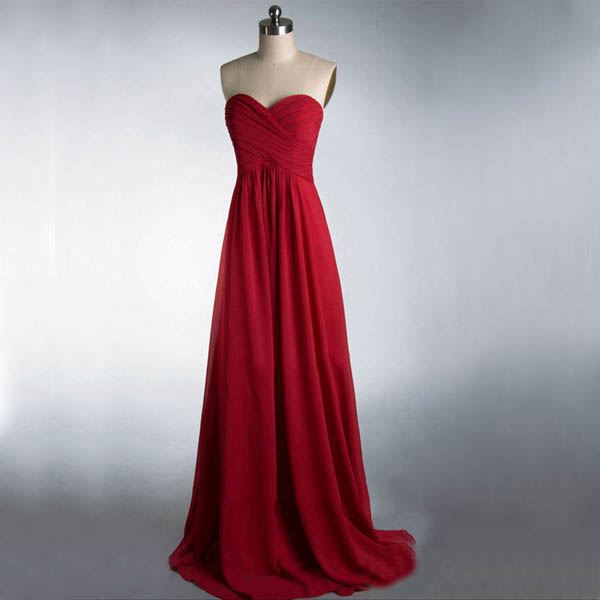 Long bridesmaid dress burgundy bridesmaid dress cheap for Simple red wedding dresses